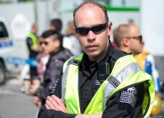 High alert, security looking like security - Calgary Lilac Festival