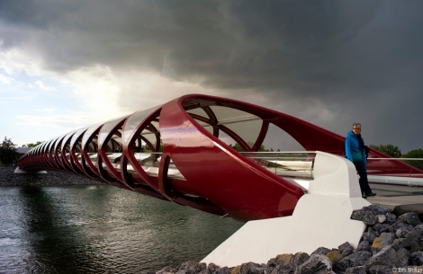 The Red Calgary Peace Bridge