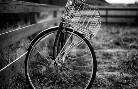 Bokeh Black & White Bike + Basket