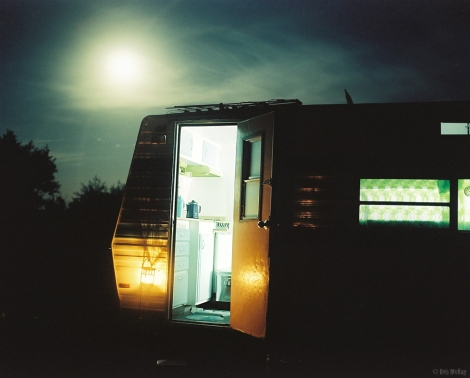 Camping - 1975 travelaire travel trailer full moon night photo