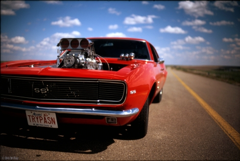 Fast Red Chevy Camero Velvia 50 Film